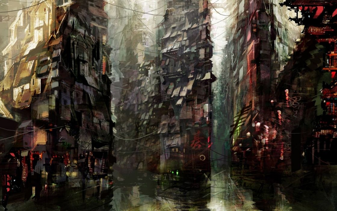 anime original city cities art artwork fantasy detail wallpaper