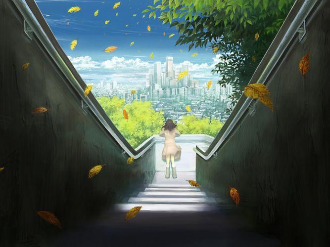 anime original city cities art artwork fantasy detail wallpaper