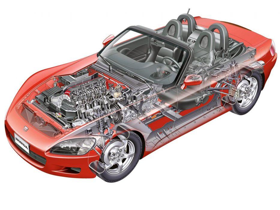 Honda S2000 1999 roadster cars cutaway technical wallpaper