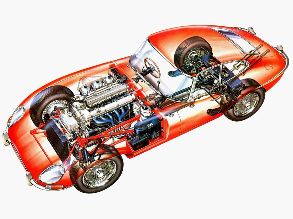 Jaguar E-Type Fixed Head Coupe UK-spec Series I 1961 cars cutaway technical wallpaper