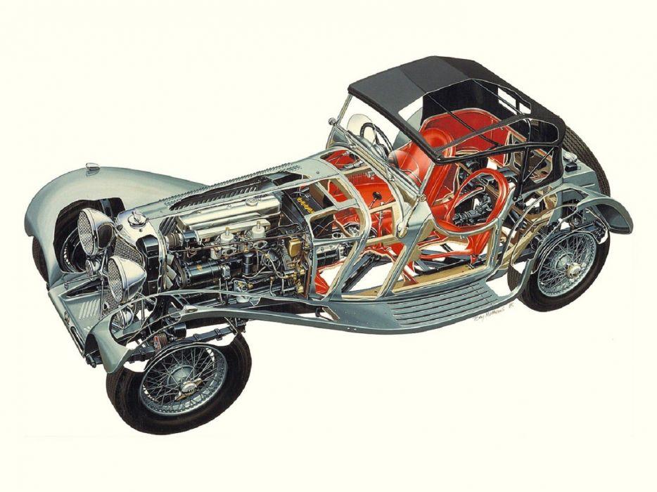 JAGUAR Ss-100 2l Az Litre Roadster 1936 technical cutaway wallpaper