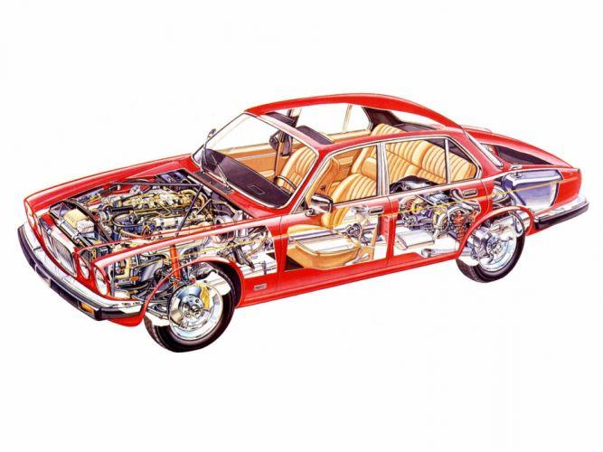 Jaguar XJ EU-spec Series III 1979 cars sedan technical cutaway wallpaper