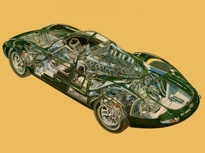 Jaguar XJ13 V12 Prototype Sports Racer 1966 cars technical cutaway wallpaper