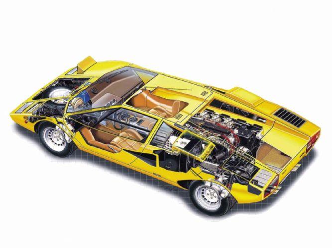 Lamborghini Countach LP400 supercars cars tecnnical cutaway wallpaper
