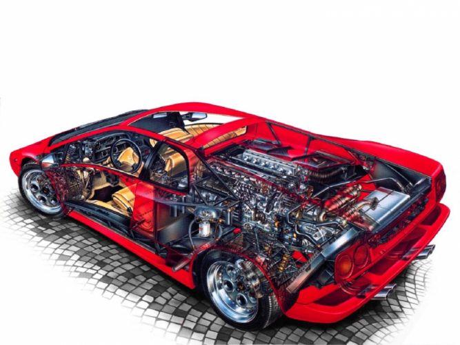 Lamborghini Diablo 1990 cars supercars technical cars cutaway wallpaper