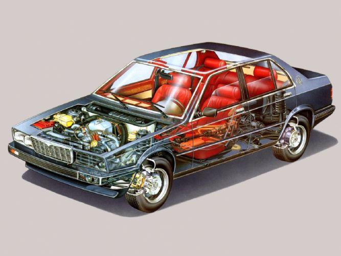 maserati 425 sedan cars 1983 cutaway technical car wallpaper
