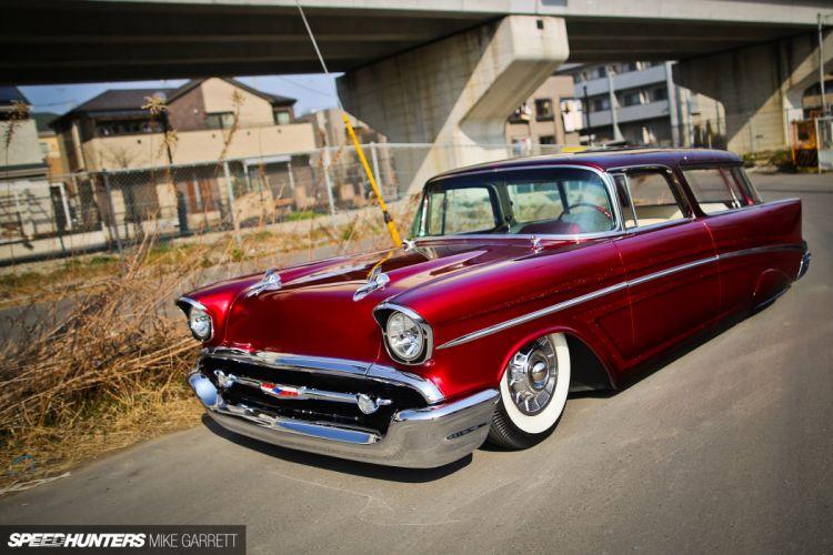 1957 Chevrolet Chevy Bal Air Nomad Wagon Hotrod Hot Rod Custom Kustom Low Lowered USA 1920x1280-02 wallpaper