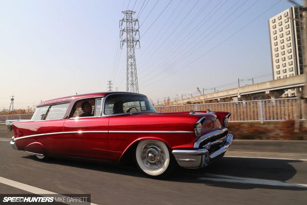 1957 Chevrolet Chevy Bal Air Nomad Wagon Hotrod Hot Rod Custom Kustom Low Lowered USA 1920x1280-07 wallpaper