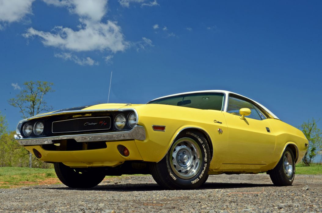 1970 Dodge Challenger RT Muscle Classic Old Original Yellow USA 5435x3610-01 wallpaper