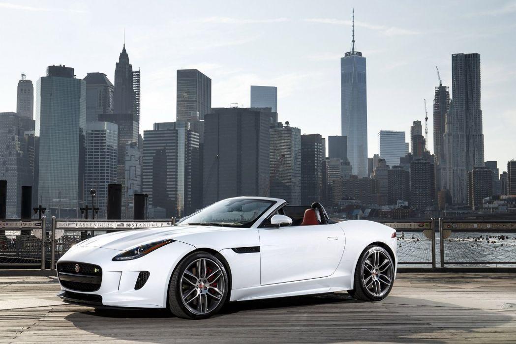 2016 Jaguar F-Type R AWD US-spec convertible white wallpaper