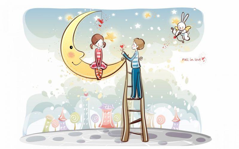 moon couple stars smile wallpaper