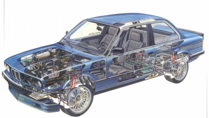 bmw 3-series- alpina modified technical cutaway cars wallpaper