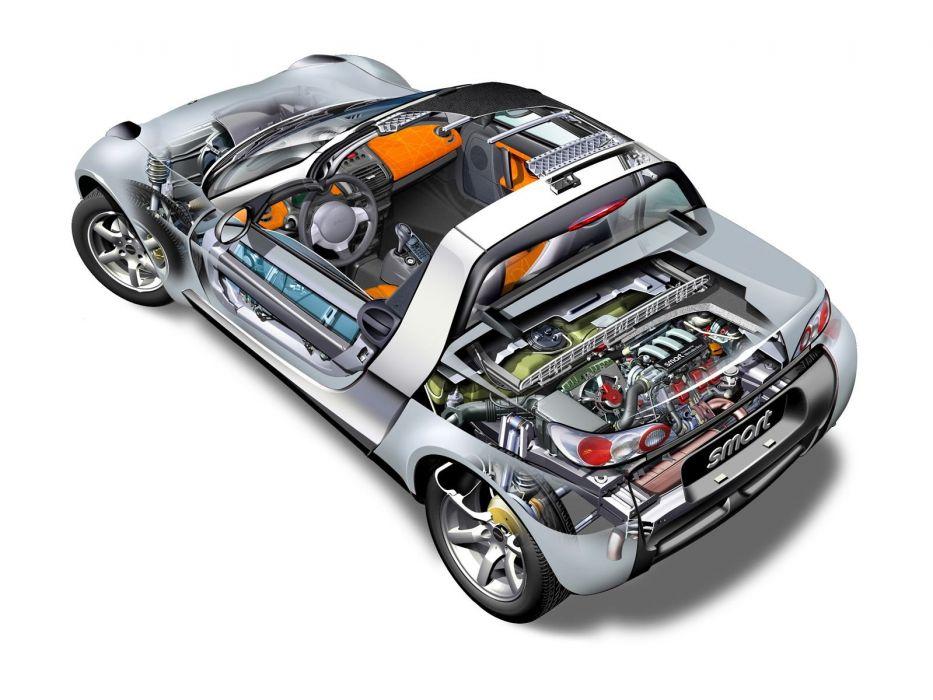 Smart Roadster cutaway cars technical cutaway wallpaper