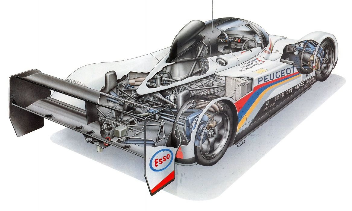 LeMans Peugeot 905 1992 cutaway cars technical cutaway wallpaper