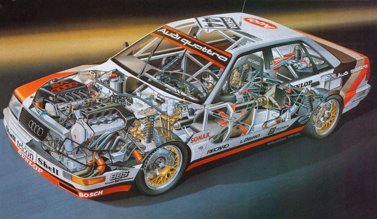 1991 Audi Quattro V8 DTM Sedan cutaway cars technical cutaway wallpaper