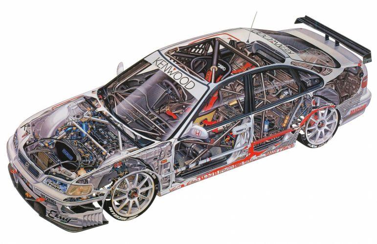 Honda Accord MSD Super Touring 1996 cutaway cars technical cutaway wallpaper