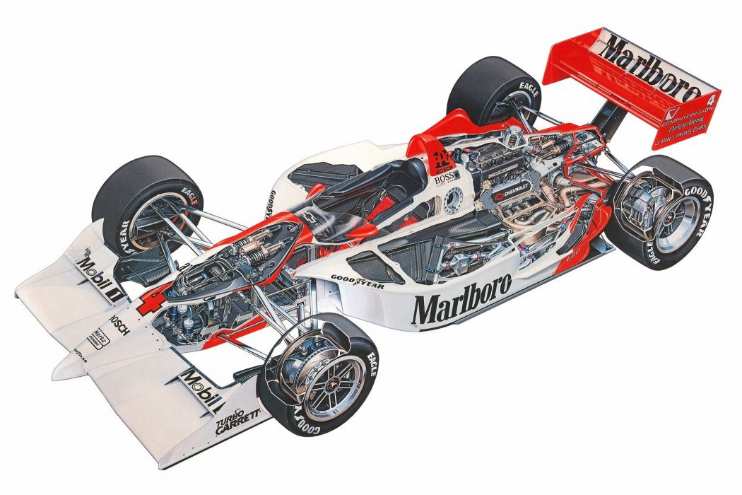 McLaren PC22 1993 Chevrolet indy cutaway cars technical cutaway wallpaper