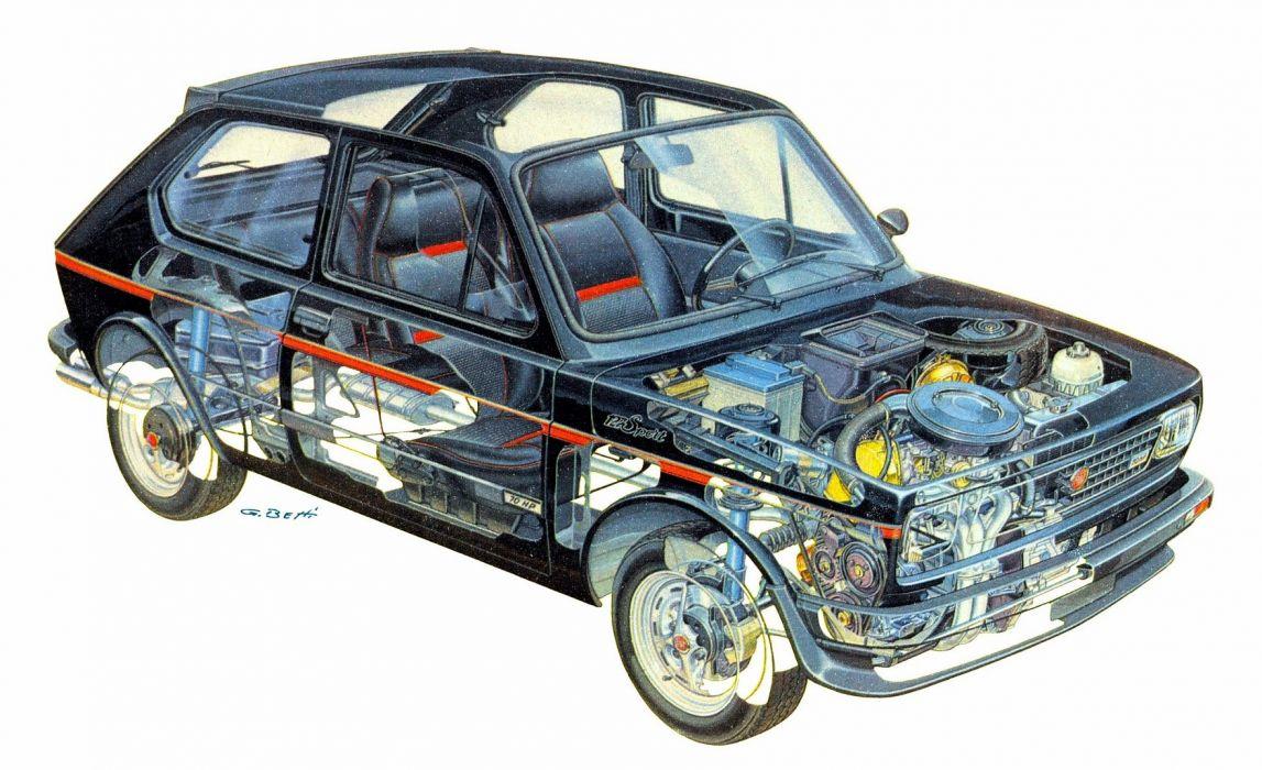 1979 Fiat 127 Sport cars technical cutaway wallpaper