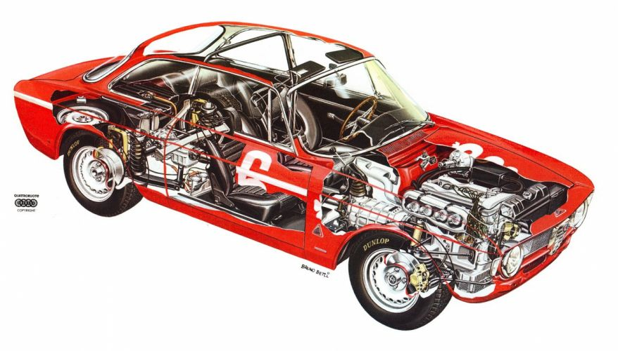 Alfa Rome oGiulia GTA 1965 cars technical cutaway wallpaper