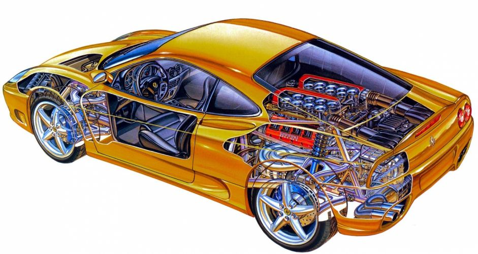 Ferrari 360 Modena cars technical cutaway wallpaper