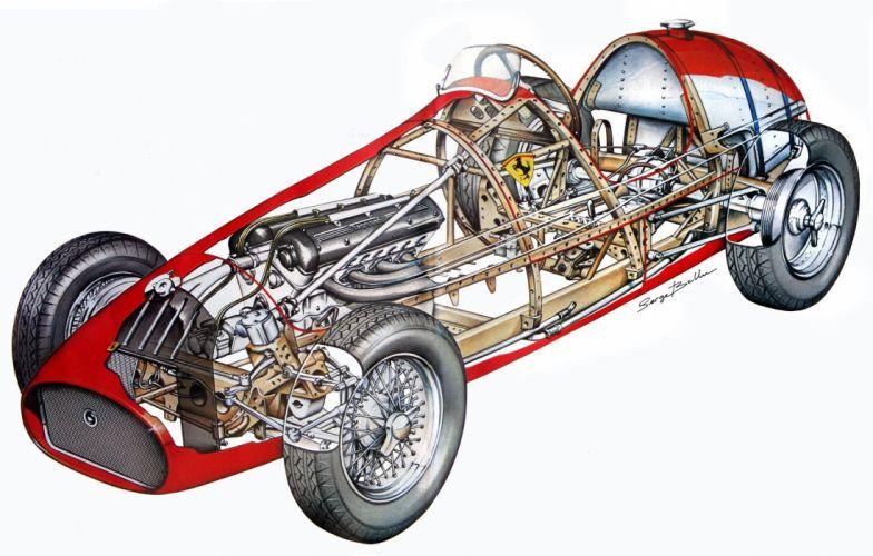 ferrari 500-f2 cars technical cutaway wallpaper