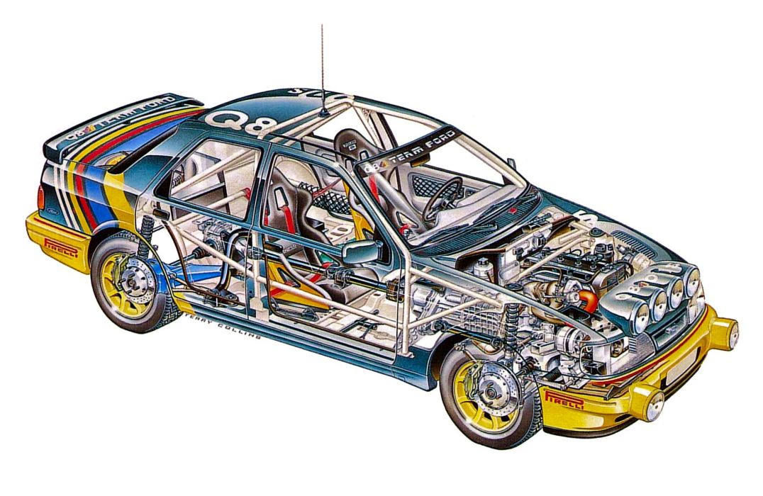 Ford Sierra Cosworth cars rally technical cutaway wallpaper