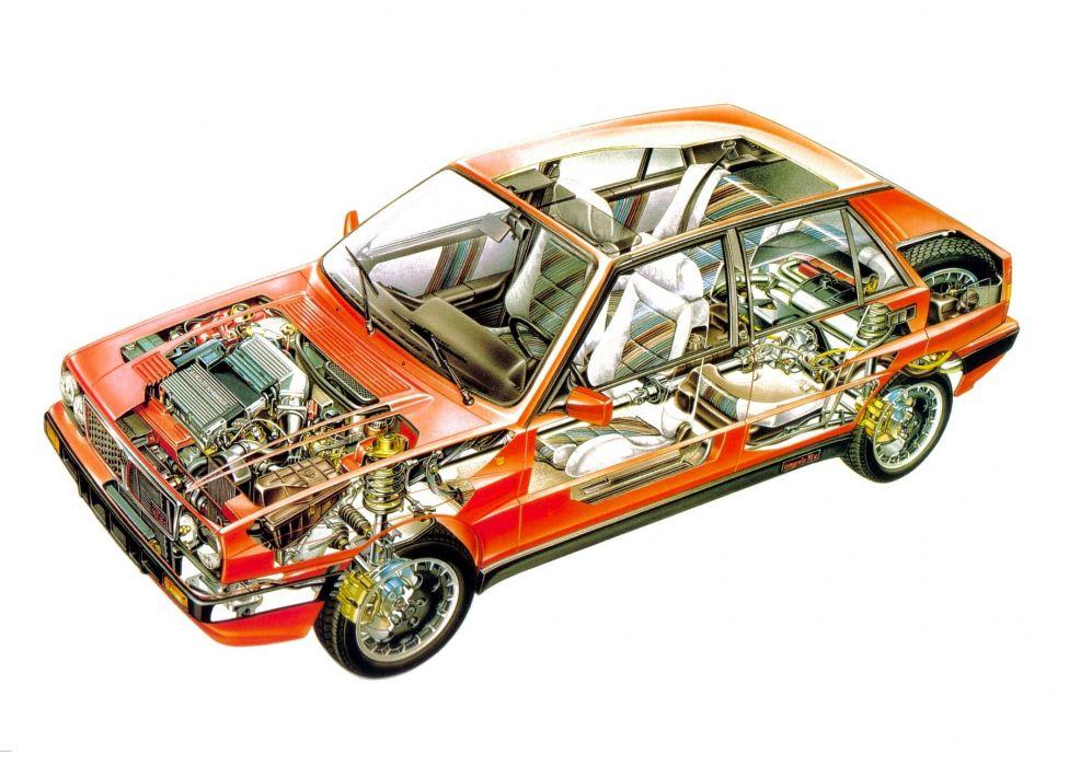Lancia Delta HF-Turbo 4WD Integrale 16v cars technical cutaway wallpaper