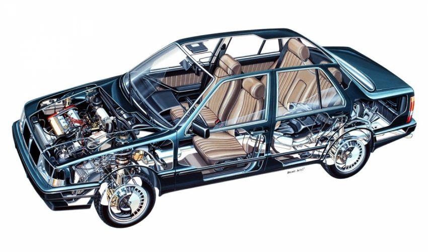 Lancia Thema sedan cars technical cutaway wallpaper