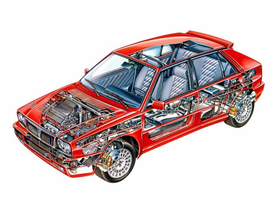 Lancia Delta-HF Integrale Evo 1991 cars technical cutaway wallpaper