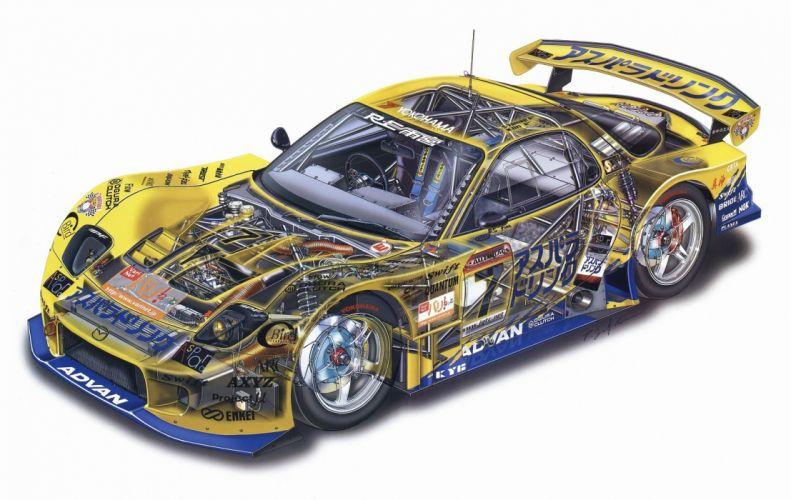 Mazda RX-7 GT JGTC racecars cars technical cutaway wallpaper