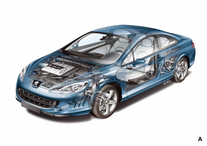 Peugeot 407 coupe 2004 cars technical cutaway wallpaper