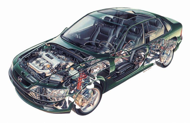 Opel Vectra 1995 cars technical cutaway wallpaper