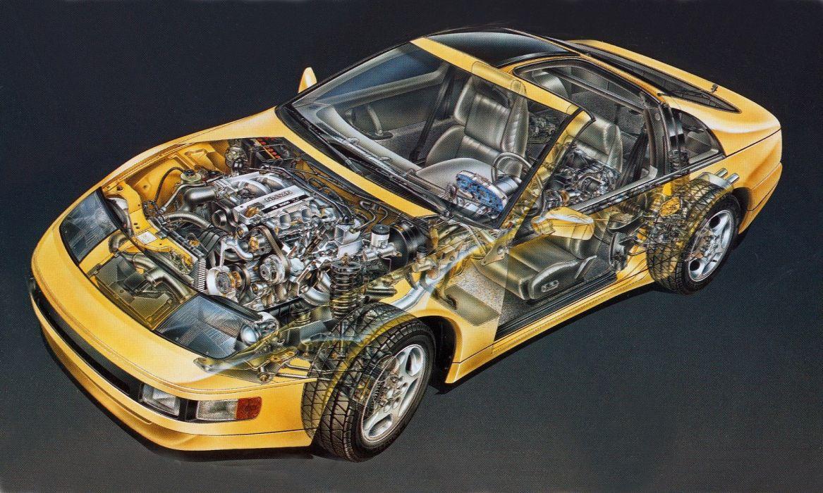 Nissan 300-ZX Turbo-1990 cars technical cutaway wallpaper