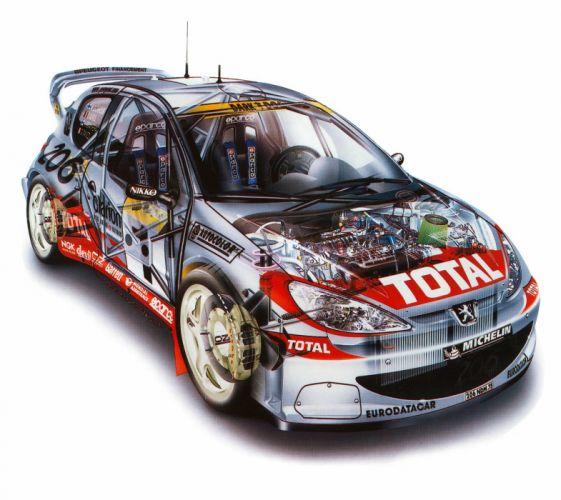 Peugeot 205 Turbo-16 WRC 2001 cars technical cutaway wallpaper