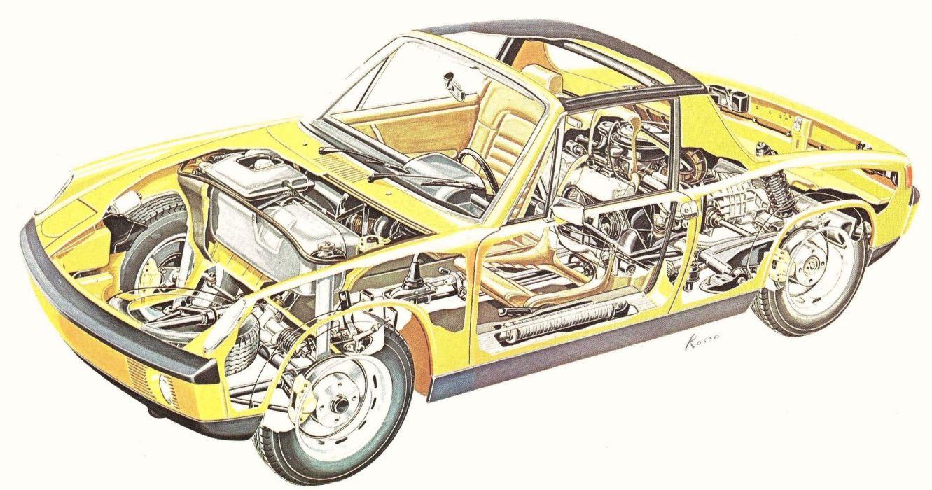 Porsche 914 cars technical cutaway wallpaper