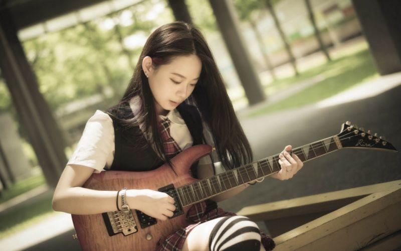 oriental asian girl girls woman women model female guitar d wallpaper