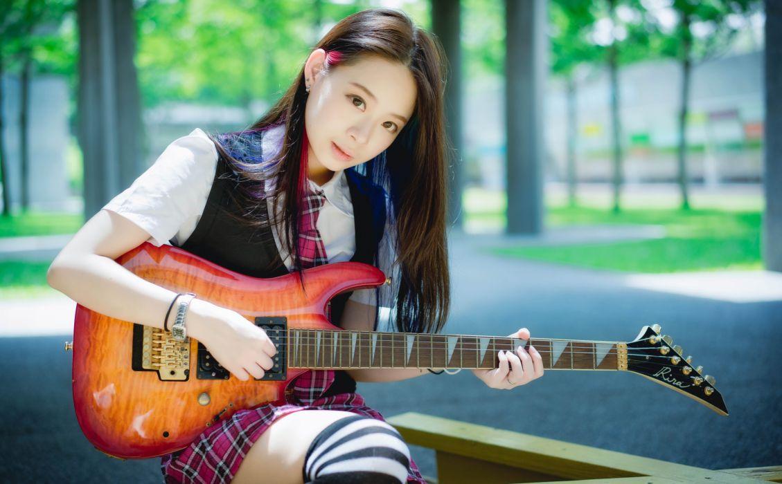 oriental asian girl girls woman women model female guitar wallpaper