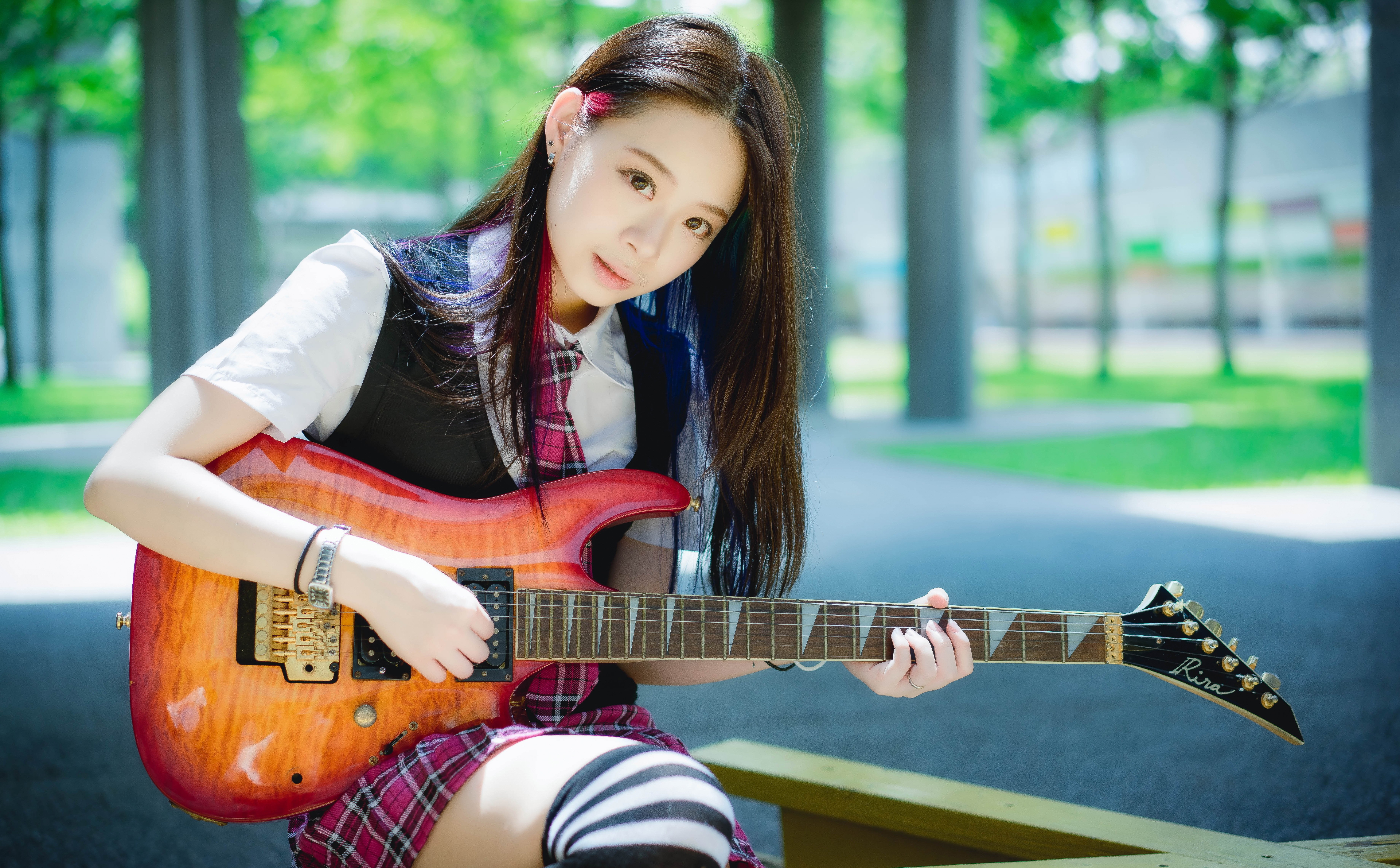 Oriental Asian Girl Girls Woman Women Model Female Guitar Wallpaper 7359x4564 689830 Wallpaperup