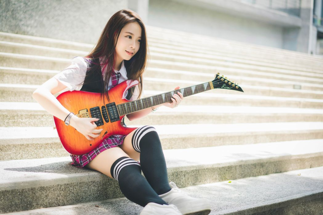 Oriental Asian Girl Girls Woman Women Model Female Guitar Wallpaper 5360x3577 689831 Wallpaperup