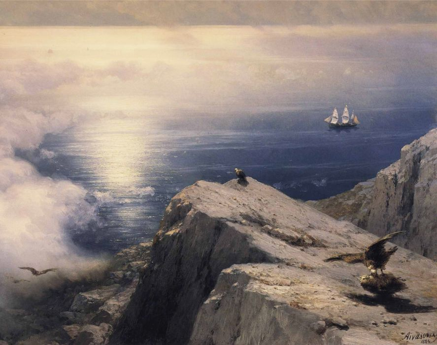 art rocky-coastal-landscape-in-the-aegean-with-ships-in-the-distance wallpaper