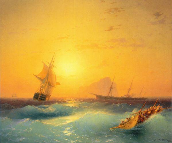 art shipping-off-the-rock-of-gibraltar- wallpaper