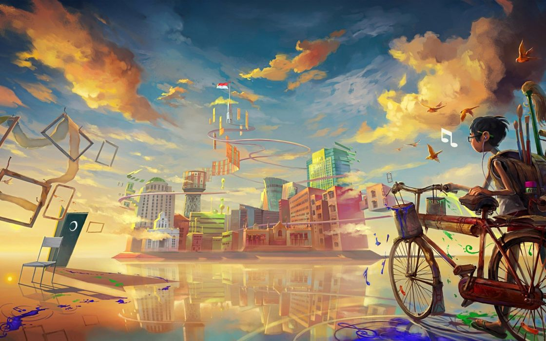 boy-bicycle-art-paint- wallpaper