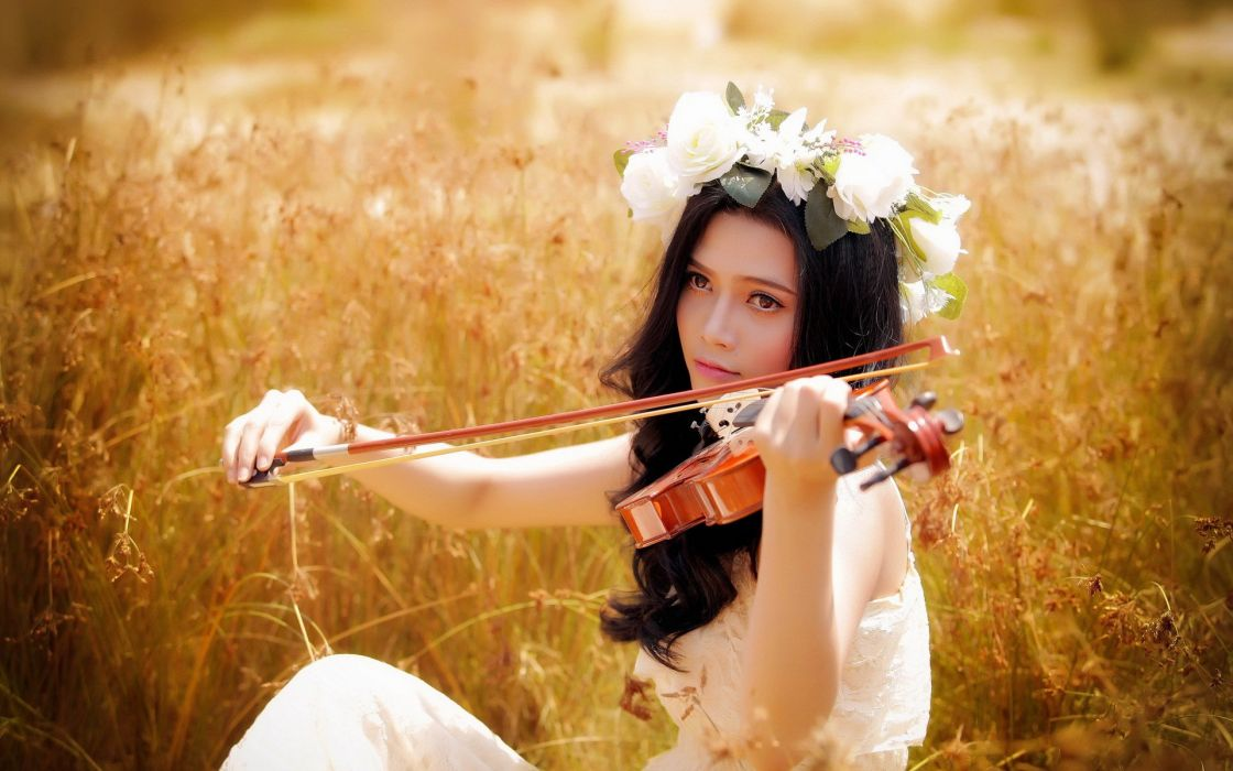 oriental asian girl girls woman women female model violin wallpaper