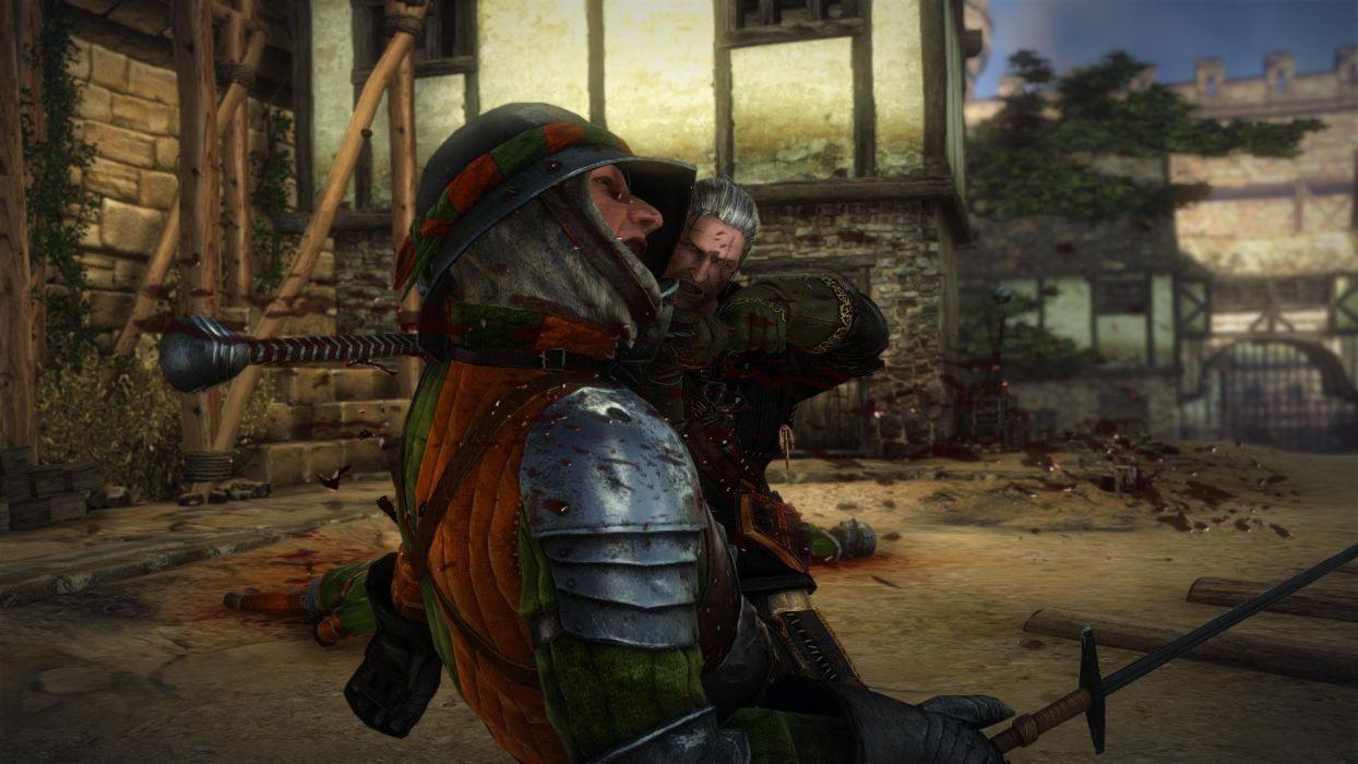 The Witcher 2 Assassins of Kings La Valette Geralt Sword Kill Soldier Blood wallpaper