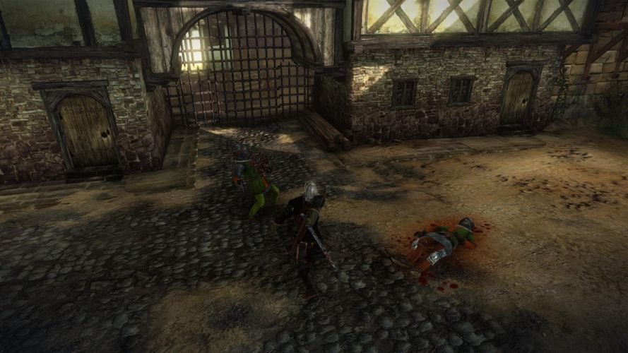 The Witcher 2 Assassins of Kings La Valette Geralt Sword Fight Soldier Blood wallpaper