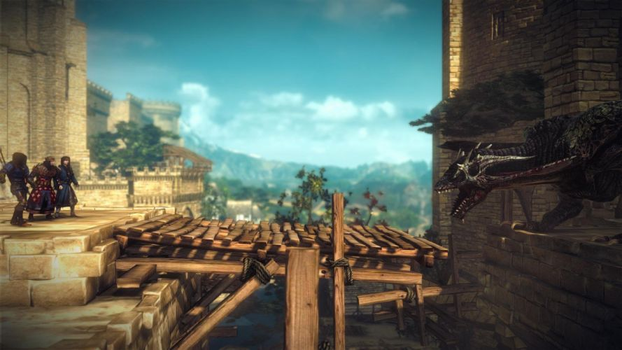 The Witcher 2 Assassins of Kings Foltest Vernon Roche Geralt Dragon Bridge wallpaper