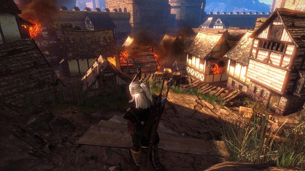 The Witcher 2 Assassins of Kings Geralt Fire Town wallpaper