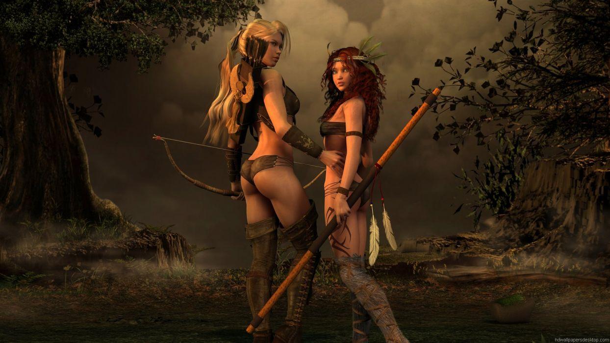ARTS - girl women blonde redhead sexy amazons warrior wallpaper