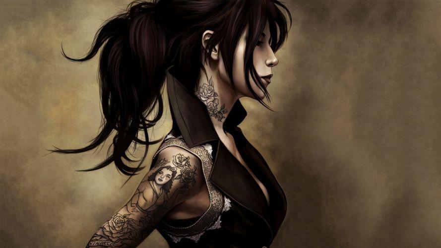 ARTS - girl women brunette tattoo wallpaper