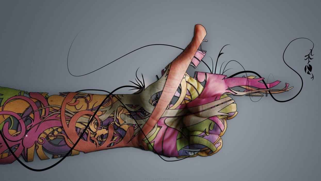 ARTS - tattoo hand fingers wallpaper